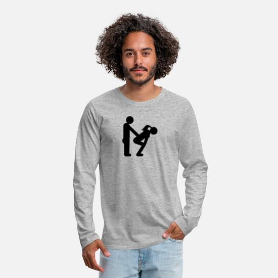 Humour Long sleeve shirts - straight couple - Men's Premium Longsleeve Shirt heather grey