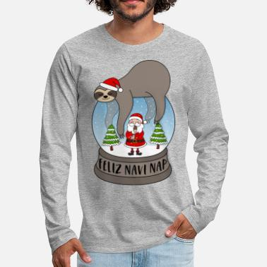 Santa Sloth snow globe saying Feliz Navi Nap Santa - Men's Premium Longsleeve Shirt