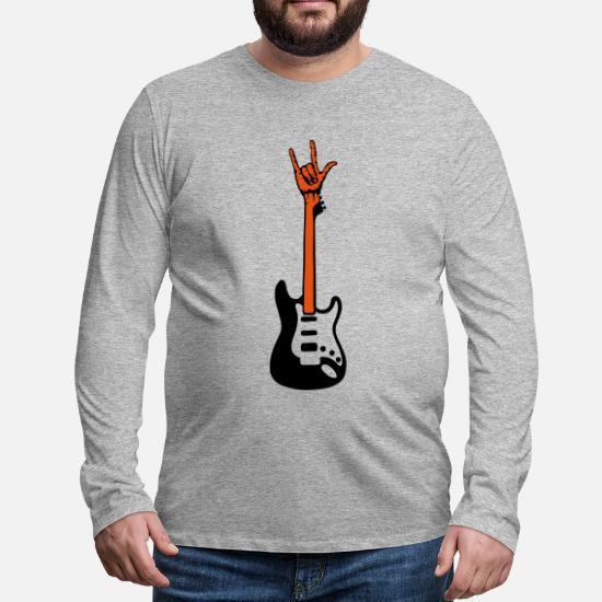 T Rock Manches Electrique Main Mus Shirt Guitare Longues Symbole W9DEHI2