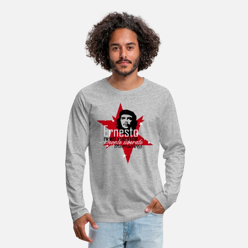 "Che Guevara Long sleeve shirts - Che Guevara ""I'm not a liberator"" - Men's Premium Longsleeve Shirt heather grey"