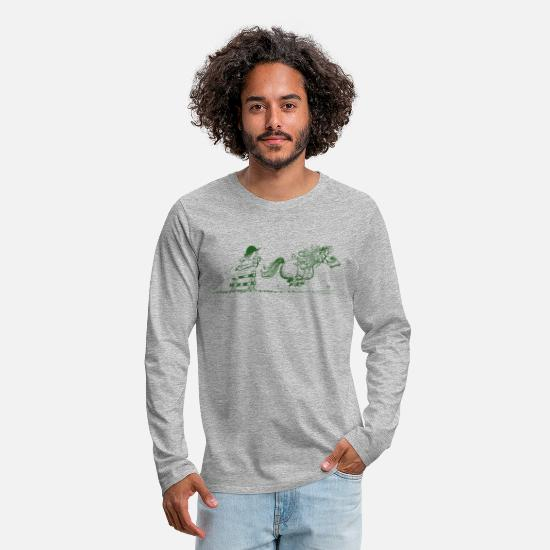 Thelwell Long sleeve shirts - Thelwell - Pony running away - Men's Premium Longsleeve Shirt heather grey