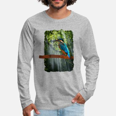 Low poly kingfisher in the forest - Men's Premium Longsleeve Shirt