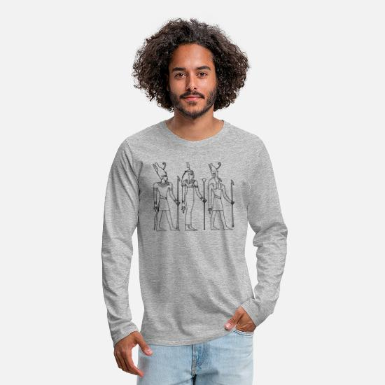 Sphinx Long sleeve shirts - hieroglyphs pharaohs giza sphinx - Men's Premium Longsleeve Shirt heather grey
