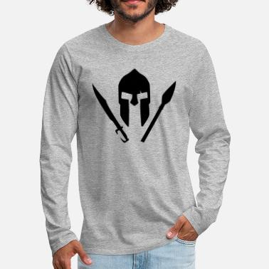 Græsk Mytologi A spartan helmet with sword and spear - Premium langærmet T-shirt mænd