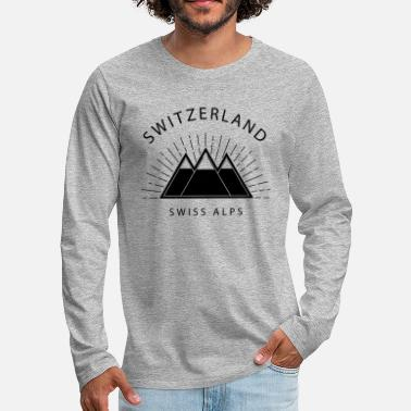 Christmas Mountains, Swiss, Alps, Switzerland, Hiking, Ski - Premium langærmet T-shirt mænd