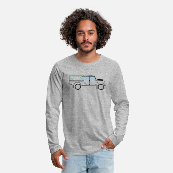 Africa Long sleeve shirts - Defender 130-TD5 - Men's Premium Longsleeve Shirt heather grey