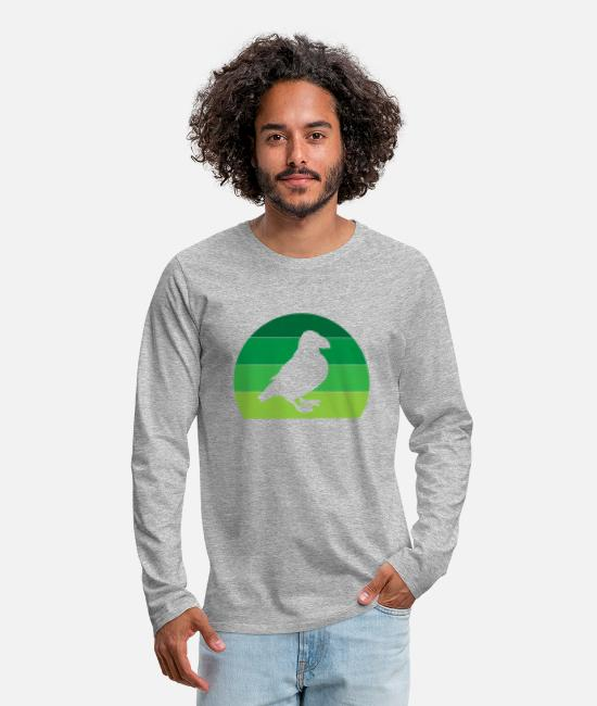 Christmas Long sleeve shirts - Puffin Puffins Lunde Puffin Vintage - Men's Premium Longsleeve Shirt heather grey