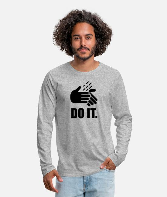 Clean Long sleeve shirts - Do it wash your hands - Men's Premium Longsleeve Shirt heather grey
