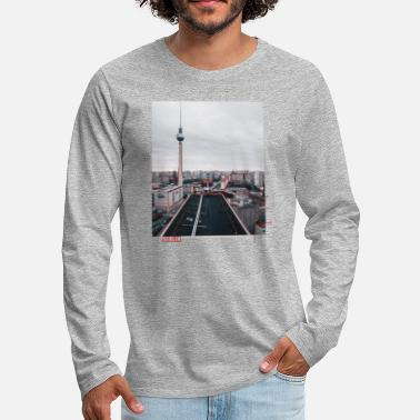 BERLIN Fernsehturm air view with red Stripes - T-shirt manches longues premium Homme