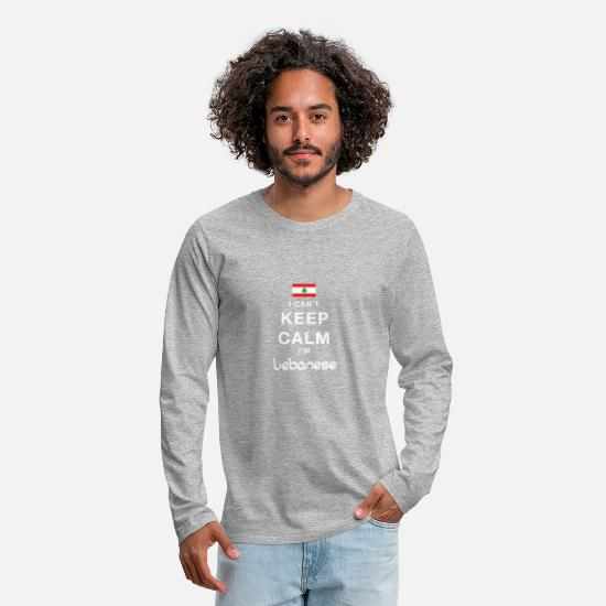 Liban Manches longues - I CAN T KEEP CALM lebanese - T-shirt manches longues premium Homme gris chiné