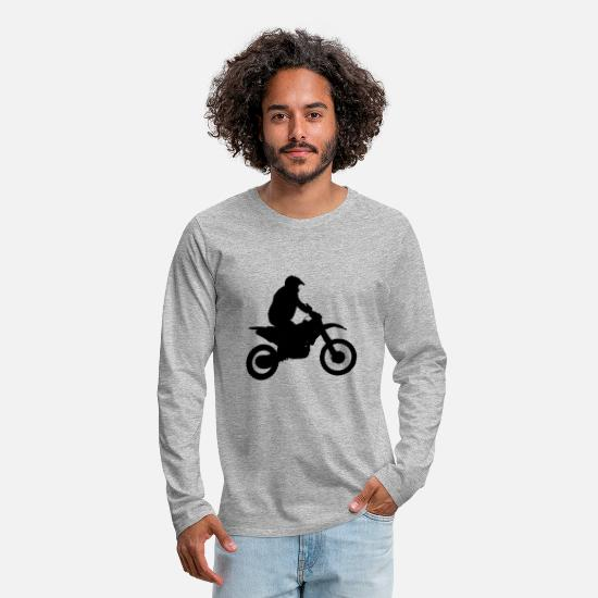 Birthday Long Sleeve Shirts - Fat guy on a bike - Men's Premium Longsleeve Shirt heather grey