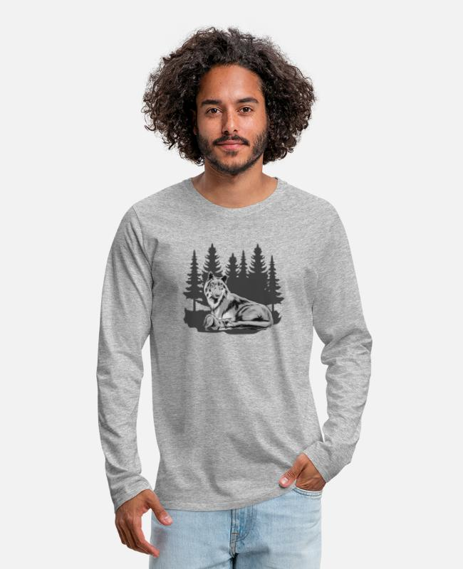 Nature Long-Sleeved Shirts - Wolfskind Wolf Wolf pack Wolf mother forest shirt - Men's Premium Longsleeve Shirt heather grey