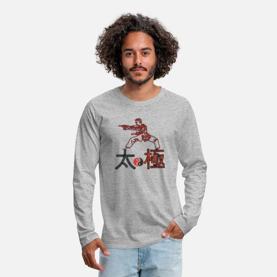 Tai Chi Long Sleeve Shirts - Taichi fighter - Men's Premium Longsleeve Shirt heather grey