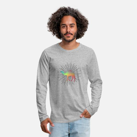 Gift Idea Long sleeve shirts - Camel Desert Ship Dromedary Desert Lama Gift - Men's Premium Longsleeve Shirt heather grey