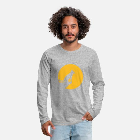 Chubby Long Sleeve Shirts - yellow moon sun evening night cliff round circle wolf - Men's Premium Longsleeve Shirt heather grey