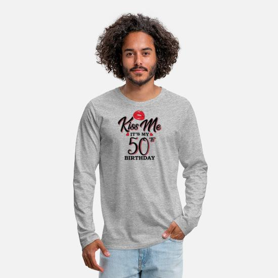 50th Birthday Long sleeve shirts - Kiss Me It s My 50th Birthday - Men's Premium Longsleeve Shirt heather grey