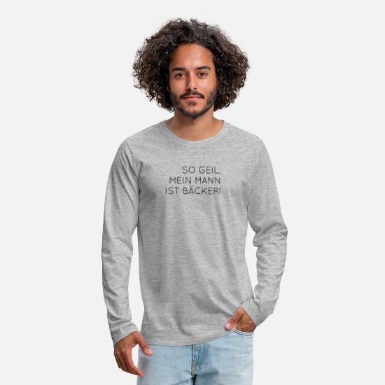 Gift Idea Long sleeve shirts - Baker profession - Men's Premium Longsleeve Shirt heather grey