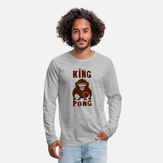 Pong Long sleeve shirts - Gorilla king pong racket ping - Men's Premium Longsleeve Shirt heather grey