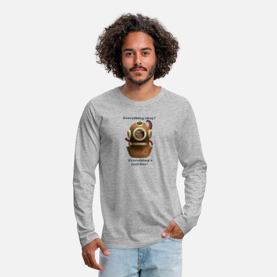 Octopus Long sleeve shirts - Everything is fine! - Men's Premium Longsleeve Shirt heather grey