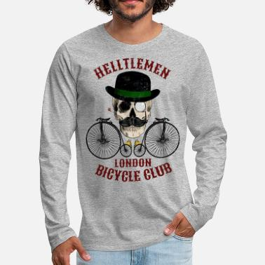 Skull and vintage bicycle (Helltlemen). Colour - Men's Premium Longsleeve Shirt