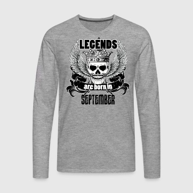 Birthday September Legends Skull Skull - Men's Premium Longsleeve Shirt