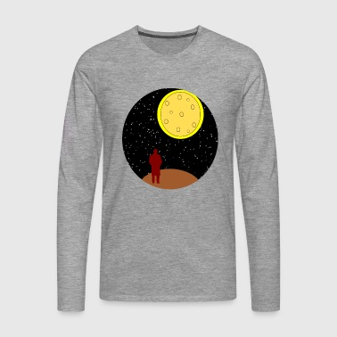 man stairing at moon - Men's Premium Longsleeve Shirt