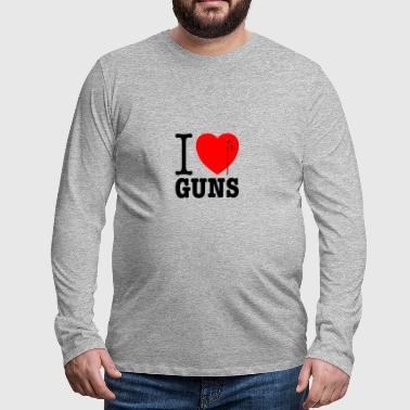 I love guns! Weapons satire. Bullet hole with blood - Men's Premium Longsleeve Shirt