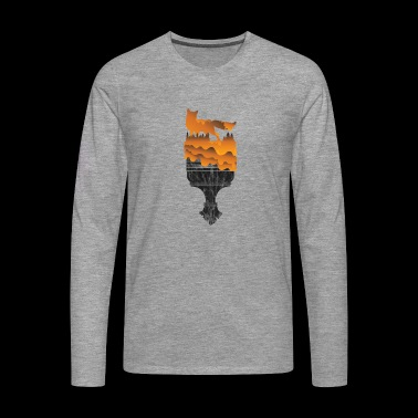 Gift Silhouette Fox Wolf Forest Hunting Wilderness - Men's Premium Longsleeve Shirt