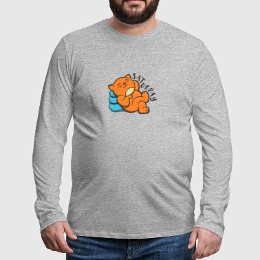 Cute Lovely Cat Lazy And Relax Saturday - Men's Premium Longsleeve Shirt