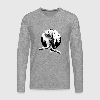 Ugle Moon Trees Natlige Bird Night Predator Lover - Herre premium T-shirt med lange ærmer