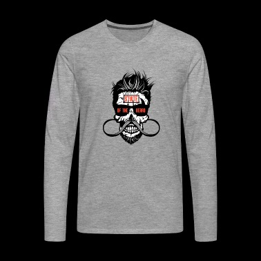 tete de mort state beard hipster barbu barbe moust - T-shirt manches longues Premium Homme