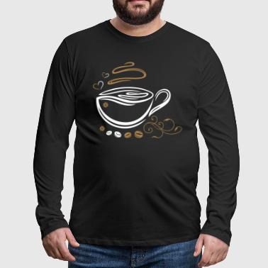 Coffee Cup with coffee beans and hearts. - Men's Premium Longsleeve Shirt