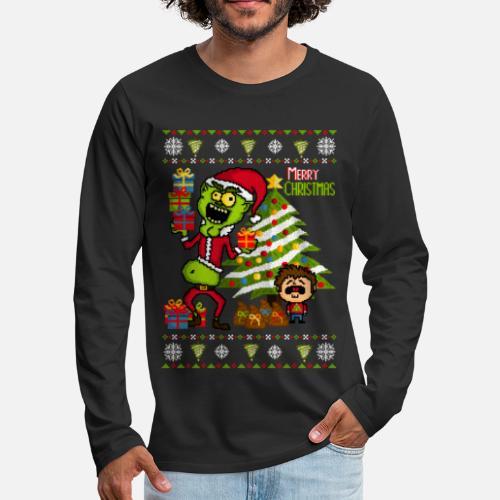 Grinch Ugly Christmas Sweater Mens Premium Longsleeve Shirt