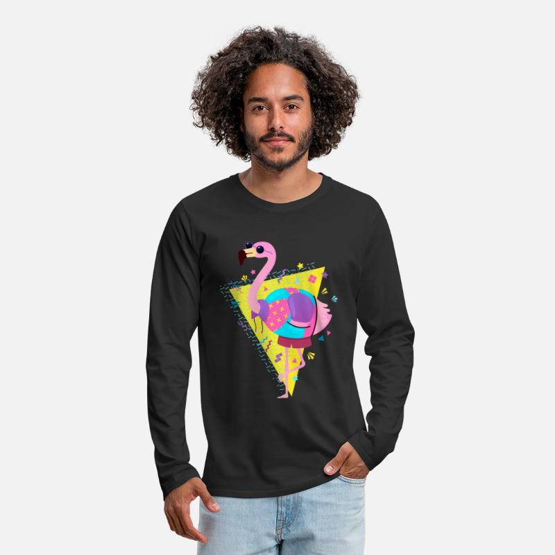 80s Long Sleeve Shirts - 80s Style Flamingo With Sunglasses - Men's Premium Longsleeve Shirt black