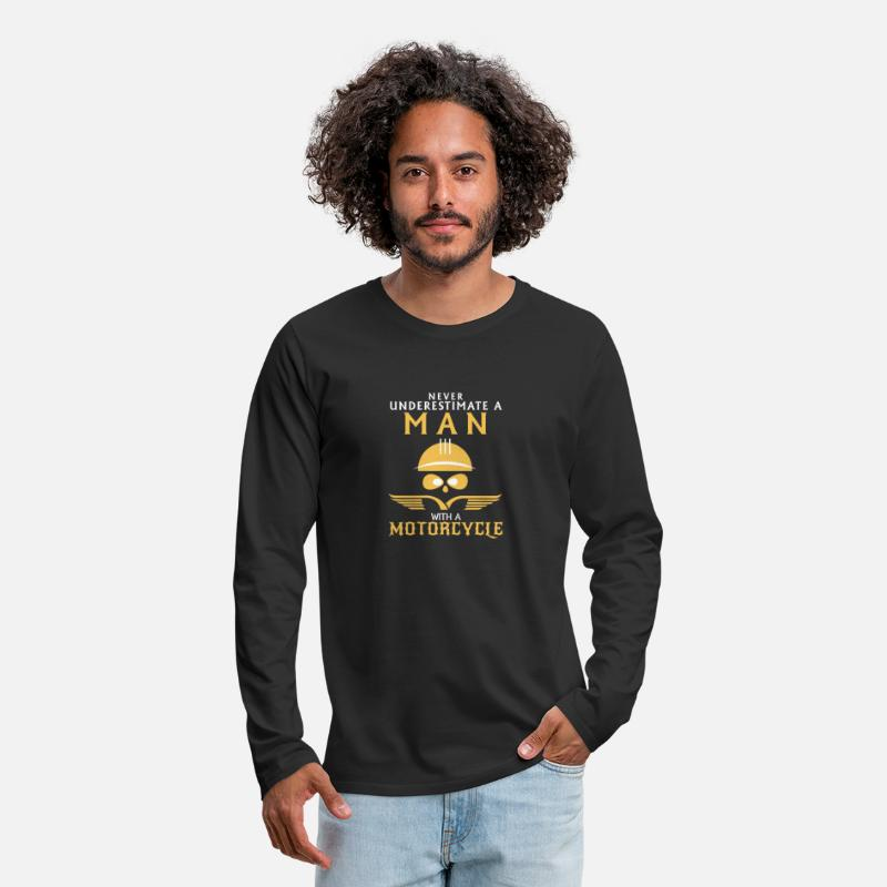 Motorcycle Long sleeve shirts - UNDERESTIMATE NEVER A MAN AND HIS MOTORCYCLE. - Men's Premium Longsleeve Shirt black