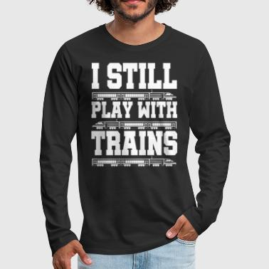 Training Train trains train steam locomotive - Men's Premium Longsleeve Shirt