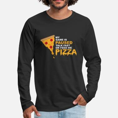 Geek Game wordt gepauzeerd Pizza Gaming Funny Nerd - Mannen Premium shirt met lange mouwen