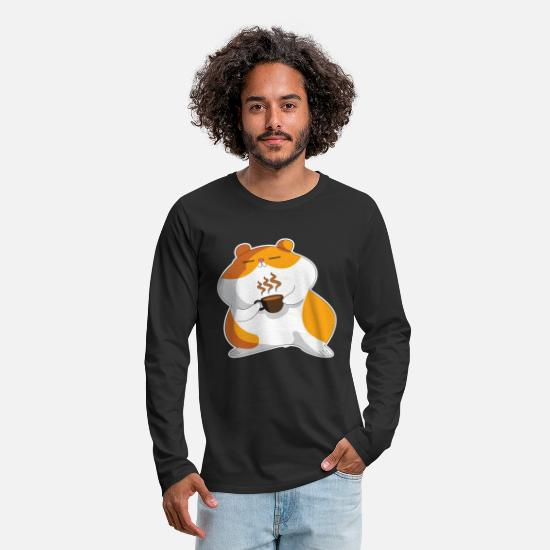 Coffee Bean Long Sleeve Shirts - hamster coffee comic cappuccino - Men's Premium Longsleeve Shirt black