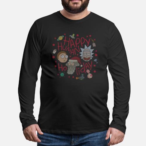 Rick And Morty Happy Human Holiday Jumper Mens Premium Longsleeve
