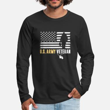 US ARMY VETERAN AMERICAN FLAG SOLDIER GIFTS - Men's Premium Longsleeve Shirt
