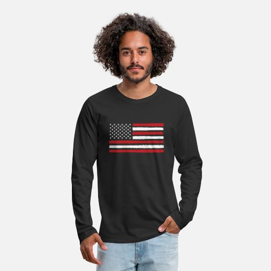 Stars Langærmede shirts - USA! Amerika! Flag! Stars and Stripes! Patriot! - Premium langærmet T-shirt mænd sort