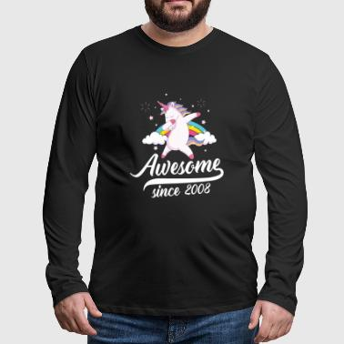 Awesome since 2008 - dabbing unicorn - Mannen Premium shirt met lange mouwen