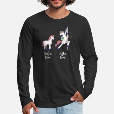 Magic &amp Before & after wine before & after wine Unicorn horse - Men's Premium Longsleeve Shirt