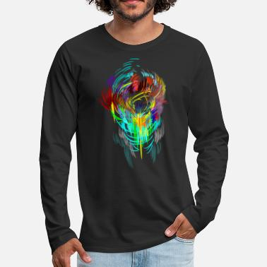 Neon Neon - mask sci-fi psychedelic techno gamer head - Men's Premium Longsleeve Shirt