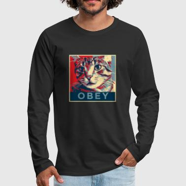 Obey Obey the Cat! - Men's Premium Longsleeve Shirt