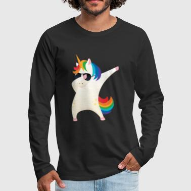 Dabbing Unicorn With Sunglasses - Dab Dance Gift - T-shirt manches longues Premium Homme