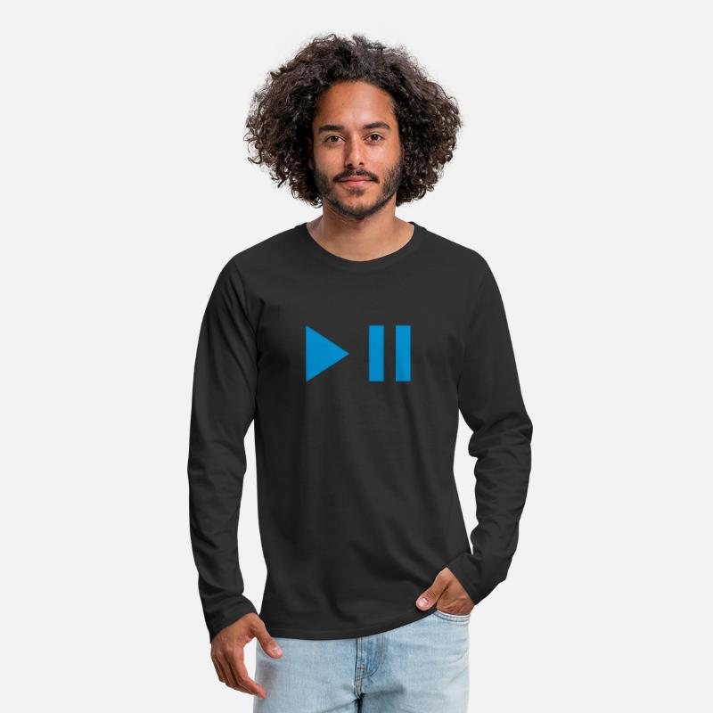 Play Long Sleeve Shirts - Play pause button 202 - Men's Premium Longsleeve Shirt black