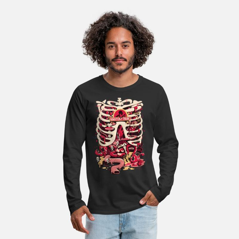 Rick And Morty Shirts met lange mouwen - Rick And Morty Anatomy Park Skeleton - Mannen premium longsleeve zwart