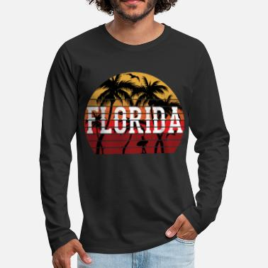 Caribbean Florida palm tree holiday motif gift idea design - Men's Premium Longsleeve Shirt