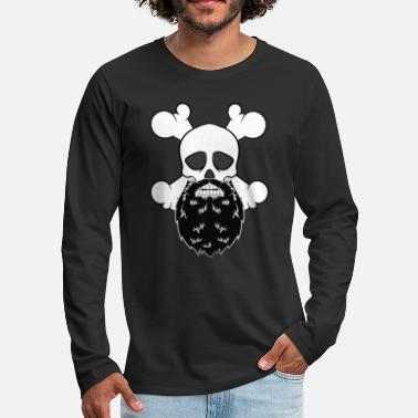 Carneval Costume Bearded Pirate Skull without eye Patch Crossbones - Men's Premium Longsleeve Shirt